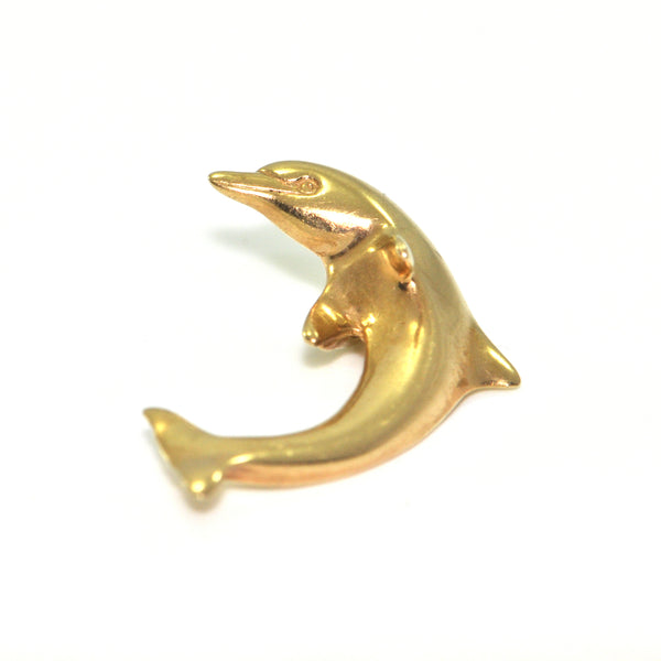 Vintage 14K Yellow Gold Dolphin Charm + Montreal Estate Jewelry