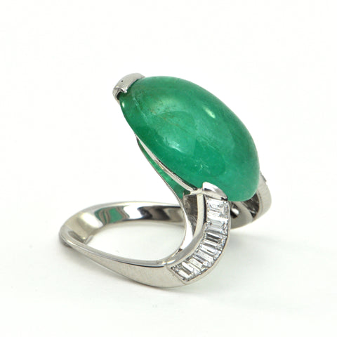 20.1ct Emerald Cabochon and 1.1ct Diamond Retro Platinum Ring - montreal estate jewellers