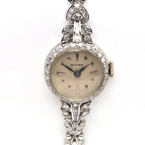 Birks 14k White Gold Art Deco Diamond Watch + Montreal Estate Jewelers