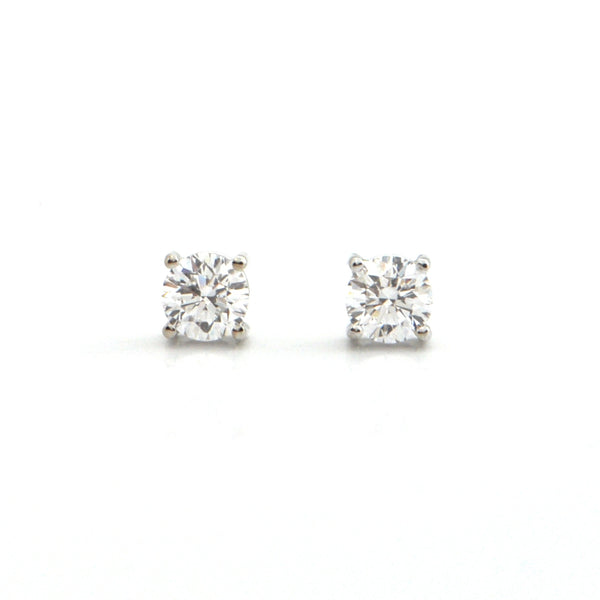 0.82CT Diamond and 18K White Gold Stud Earrings + Montreal Estate Jewelers