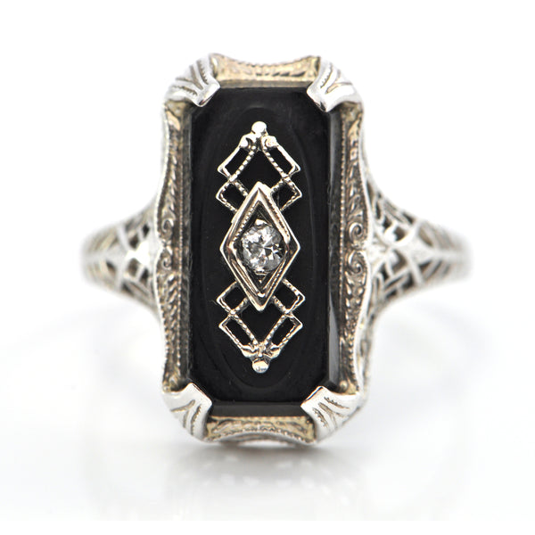 Edwardian (C.1910) 14K White Gold Onyx and Diamond Ring