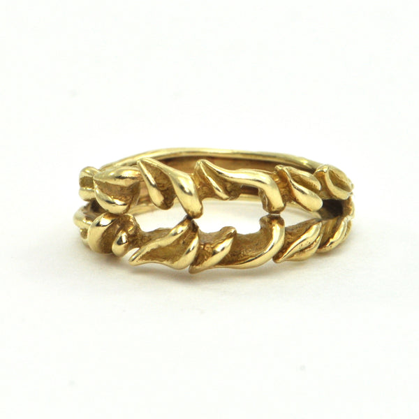 Vintage 18kt gold split leaf ring - montreal jewellers