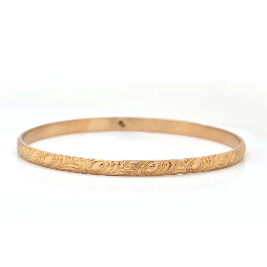 Vintage 18K Yellow Gold Bangle Bracelet with Leaf Motif + Montreal Estate Jewelers