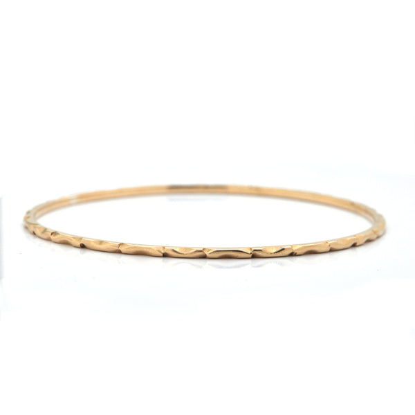 Vintage 14K Yellow Gold Bangle Bracelet with Etched Geometric Motif + Montreal Estate Jewelers
