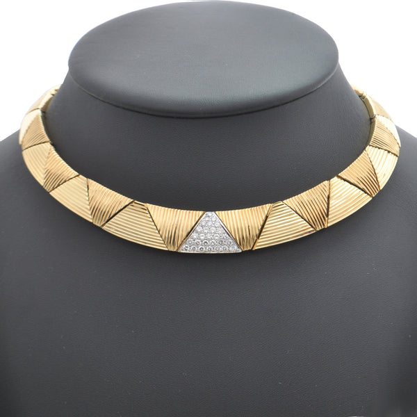 Vintage Mid-Century Triangular Link Diamond 18K Yellow and White Gold Necklace + Montreal Estate Jewelers