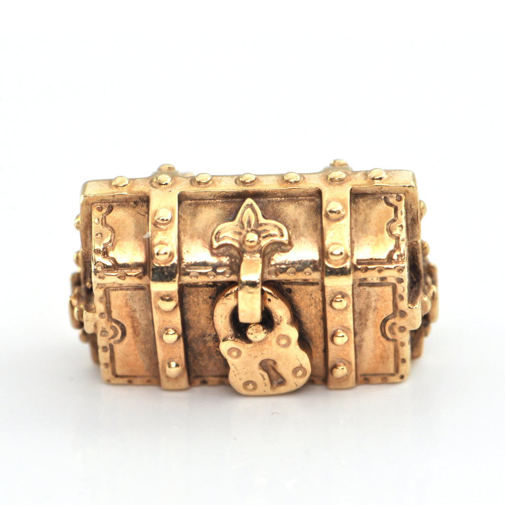 Vintage 14K Yellow Gold Treasure Chest Charm + Estate Jewelers