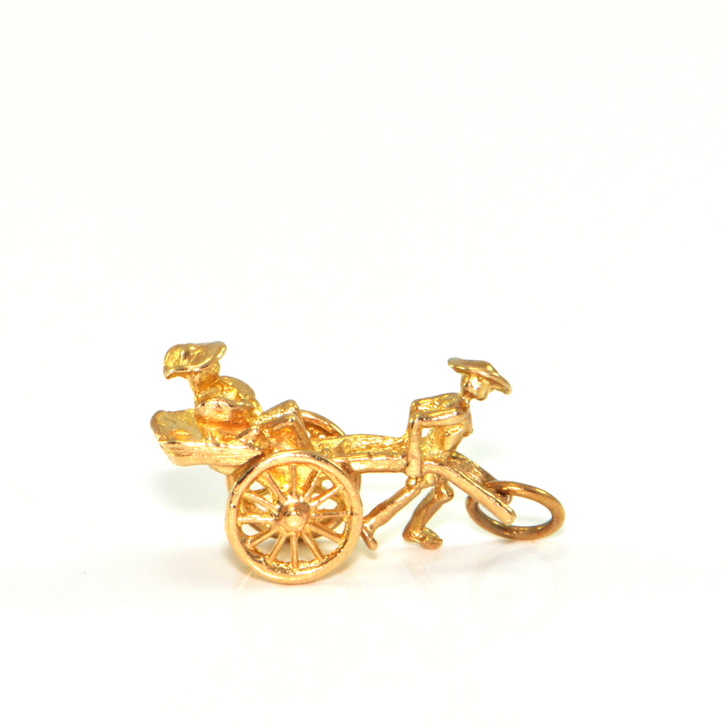 Vintage 14K Yellow Gold Rickshaw Charm + Montreal Estate Jewelers