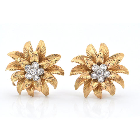 Birks 18K Gold and 0.66CT Diamond Flower Earrings C.1960 + Montreal Estate Jewelers