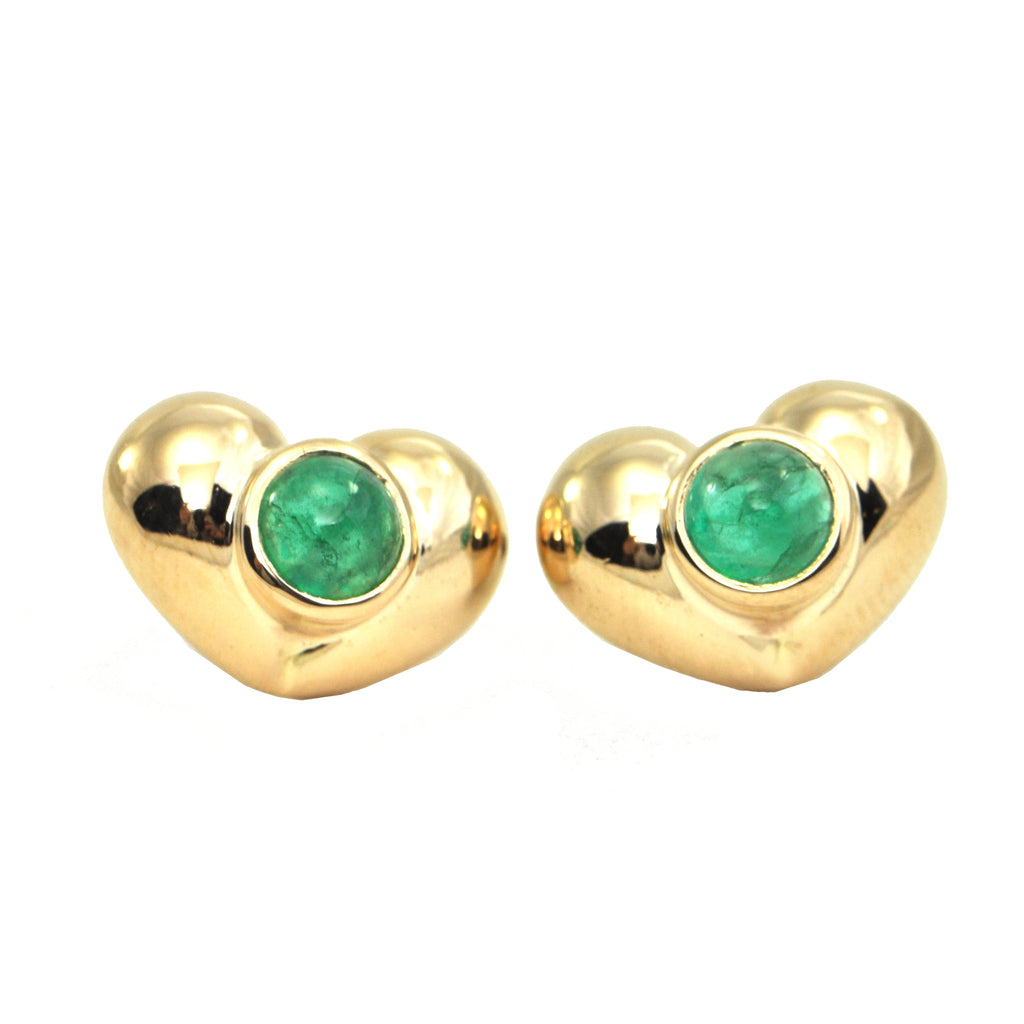 Vintage 1.2CT Emerald 18K Yellow Gold Heart Earrings + Montreal Estate Jewelers