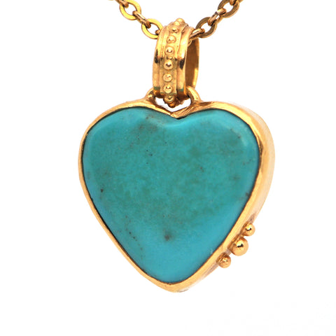 Vintage Turquoise Heart Pendant Charm - Jewelry Montreal