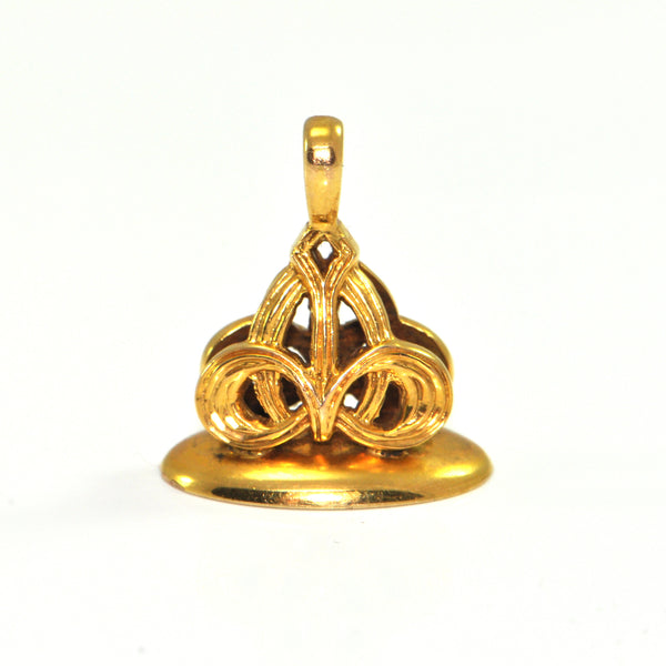 Vintage 14K Yellow Gold Celtic Knot Seal Fob Charm Pendant + Montreal Estate Jewelers