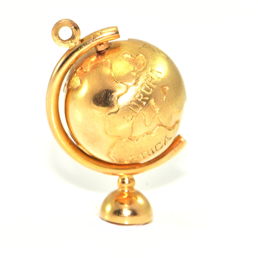 Vintage 18K Yellow Gold Globe Charm + Montreal Estate Jewelers