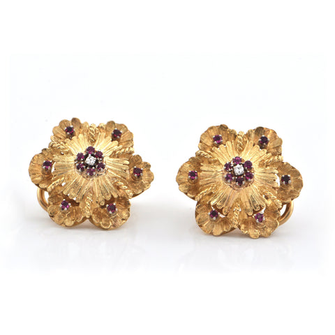 Retro Italian Diamond and Pink Ruby 18K Yellow Gold Flower Earrings + Montreal Estate Jewelers