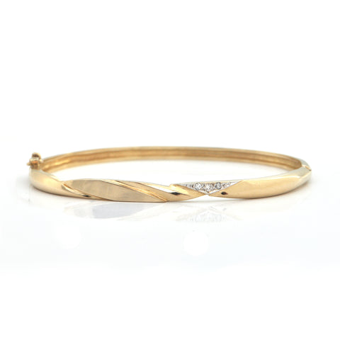 Vintage 0.03CT Diamond and 14K Yellow Gold Hinged Bangle Bracelet + Montreal Estate Jewelers