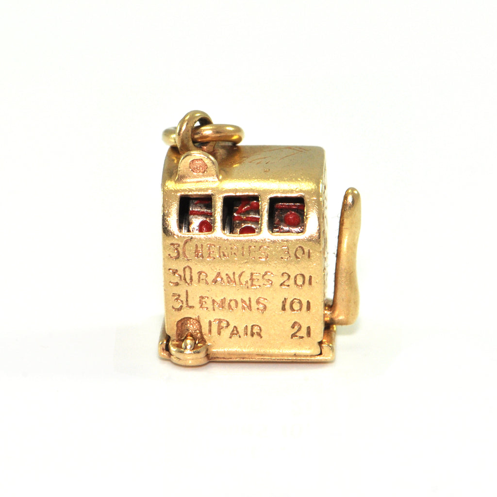 Vintage 14K Yellow Gold Slot Machine Charm + Montreal Estate Jewelers