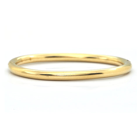 Italian Hollow High Polish 18K Yellow Gold Hinged Bangle Bracelet + Montreal Estate Jewelers