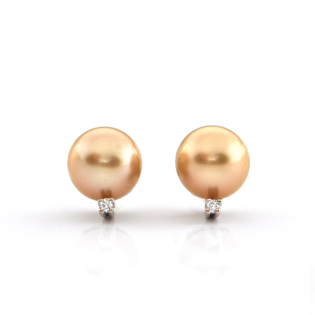 Natural Gold 11.4mm South Sea Pearl and 0.06ct Diamond 18K White Gold Earrings + Montreal Estate Jewelers