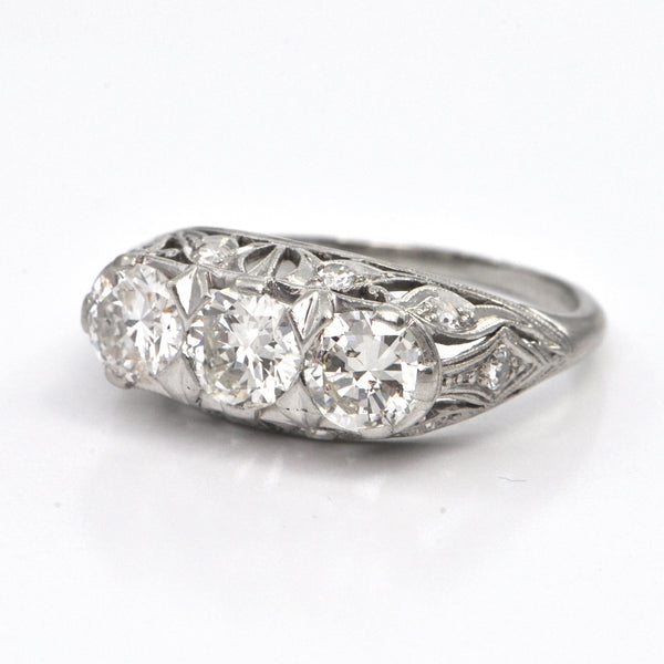 1.81 CT Late Edwardian Three Stone Diamond Ring c.1920, montreal estate jewellers