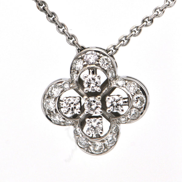 18K Diamond Quatrefoil Pendant Necklace