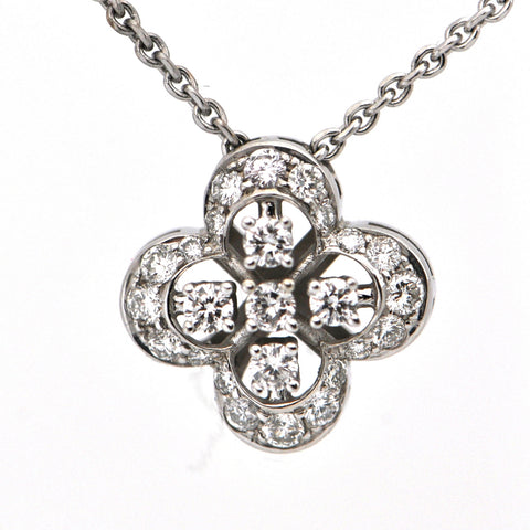 18K White Gold Diamond Quatrefoil Pendant Necklace