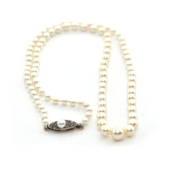 Vintage Graduated Japanese Cultured Pearl Necklace + Montreal Estate Jewelers