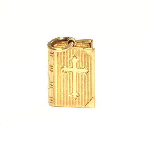 Vintage 14K Yellow Gold Bible Charm + Montreal Estate Jewelers