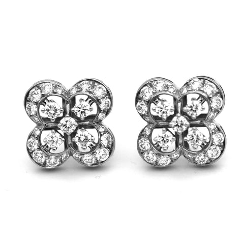 0.85ct Diamond Quatrefoil 18k White Gold Earrings