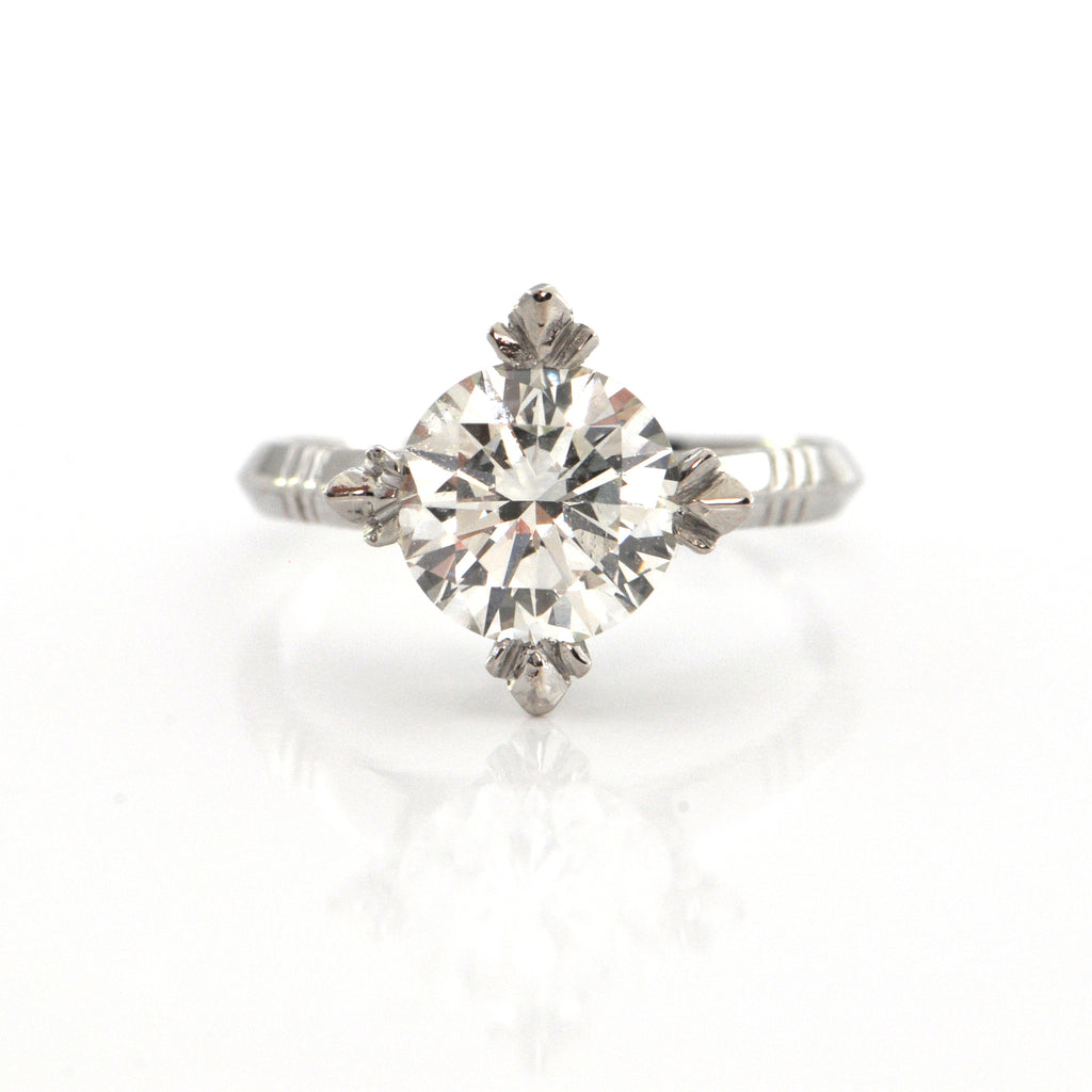 2.12CT GIA Certified Diamond Ring Set in Platinum C.1940 + Montreal Estate Jewelers