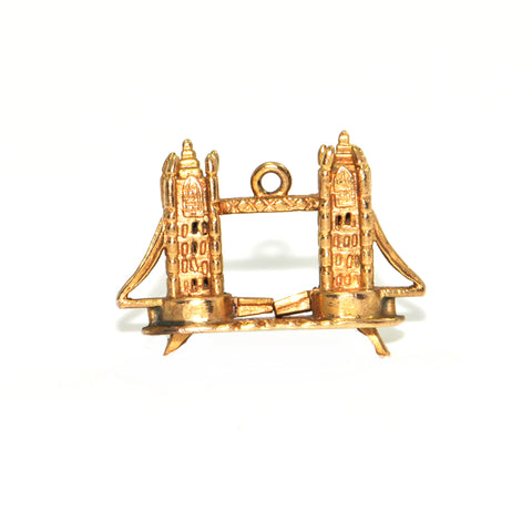 Vintage 9K Yellow Gold London Tower Bridge Charm + Montreal Estate Jewelers
