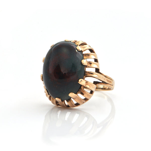 Bloodstone and 10k Yellow Gold Ring + Montreal Estate Jewelers