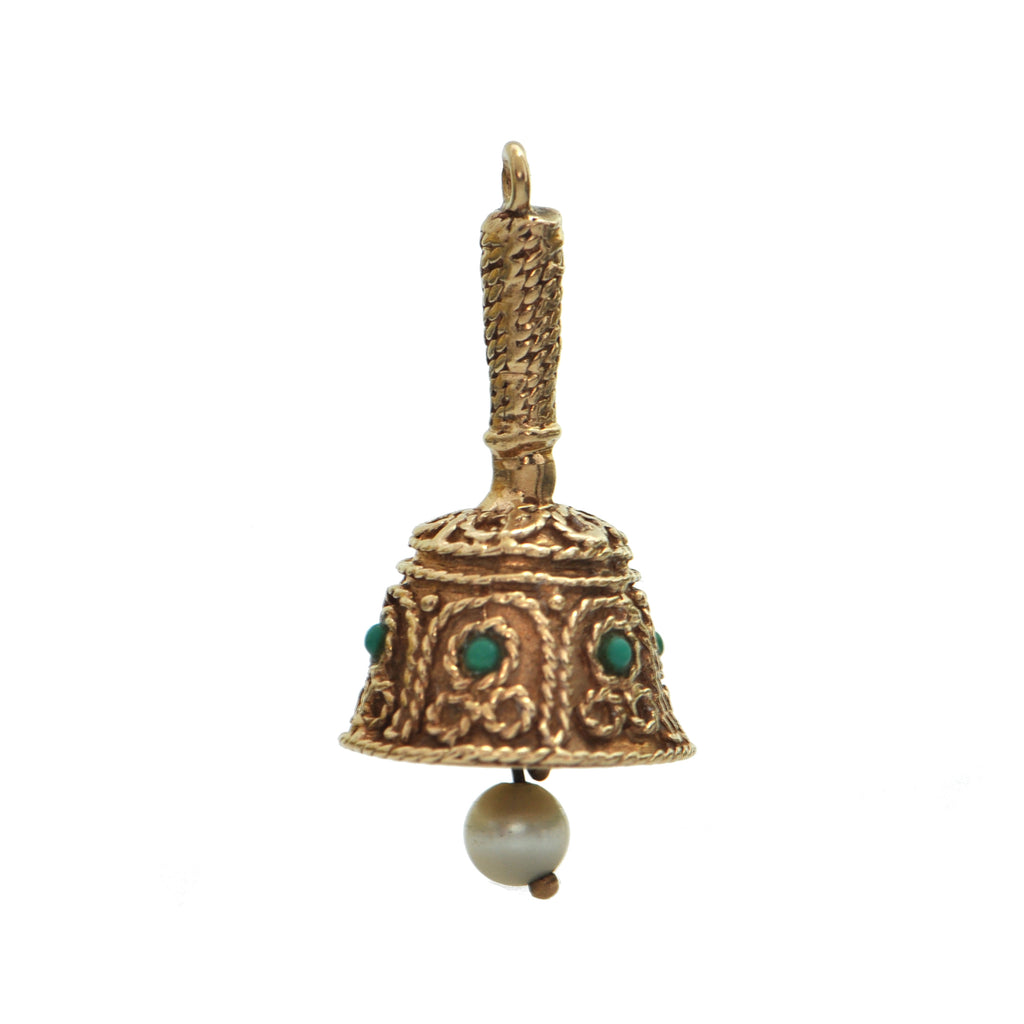 Vintage 14k Yellow Gold Bell Charm + Montreal Estate Jewelers