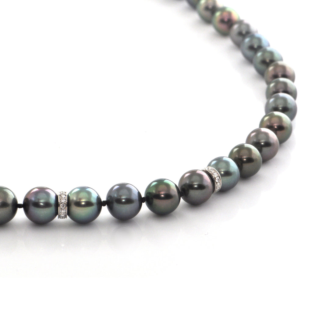 8.5 - 10.7mm Tahitian Pearl and 1.12CT Diamond Necklace + Montreal Estate Jewelers