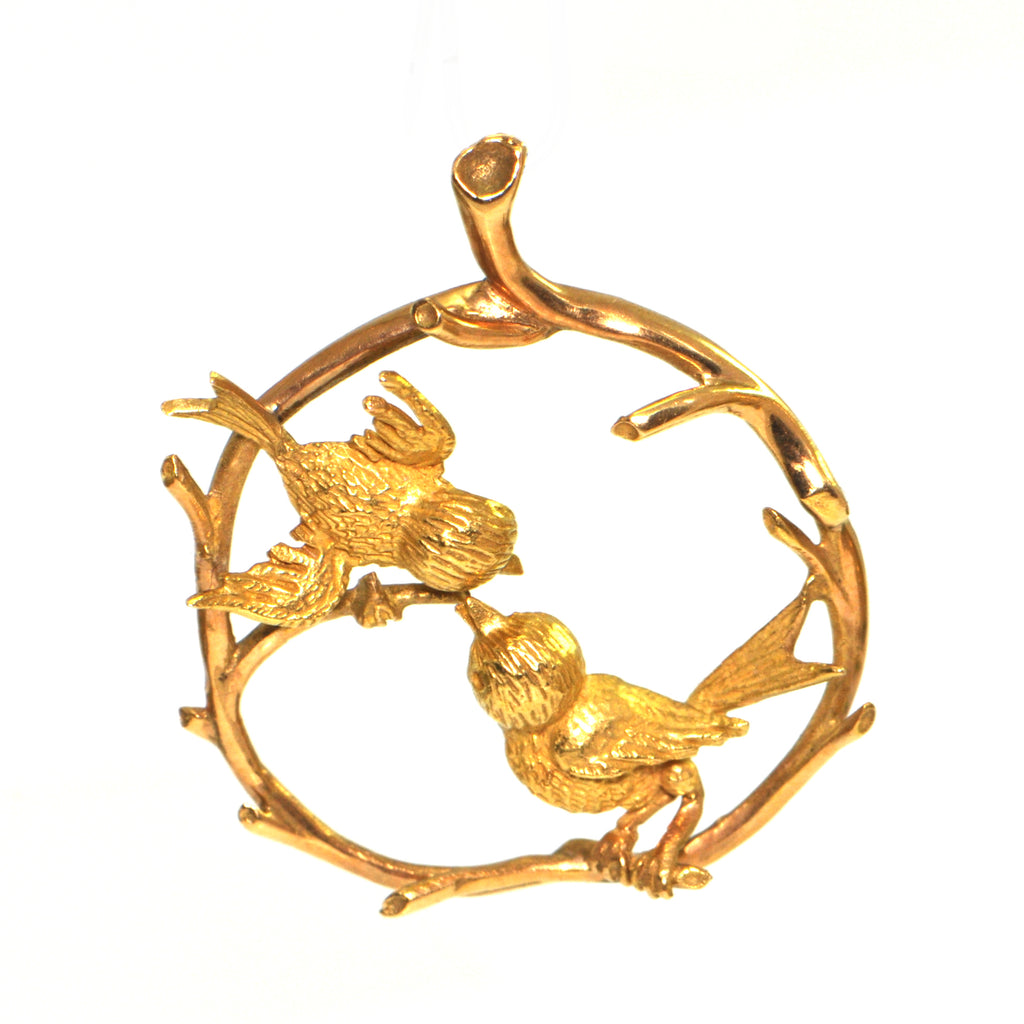 Vintage 18K Yellow Gold Birds in Branches Charm + Montreal Estate Jewelers