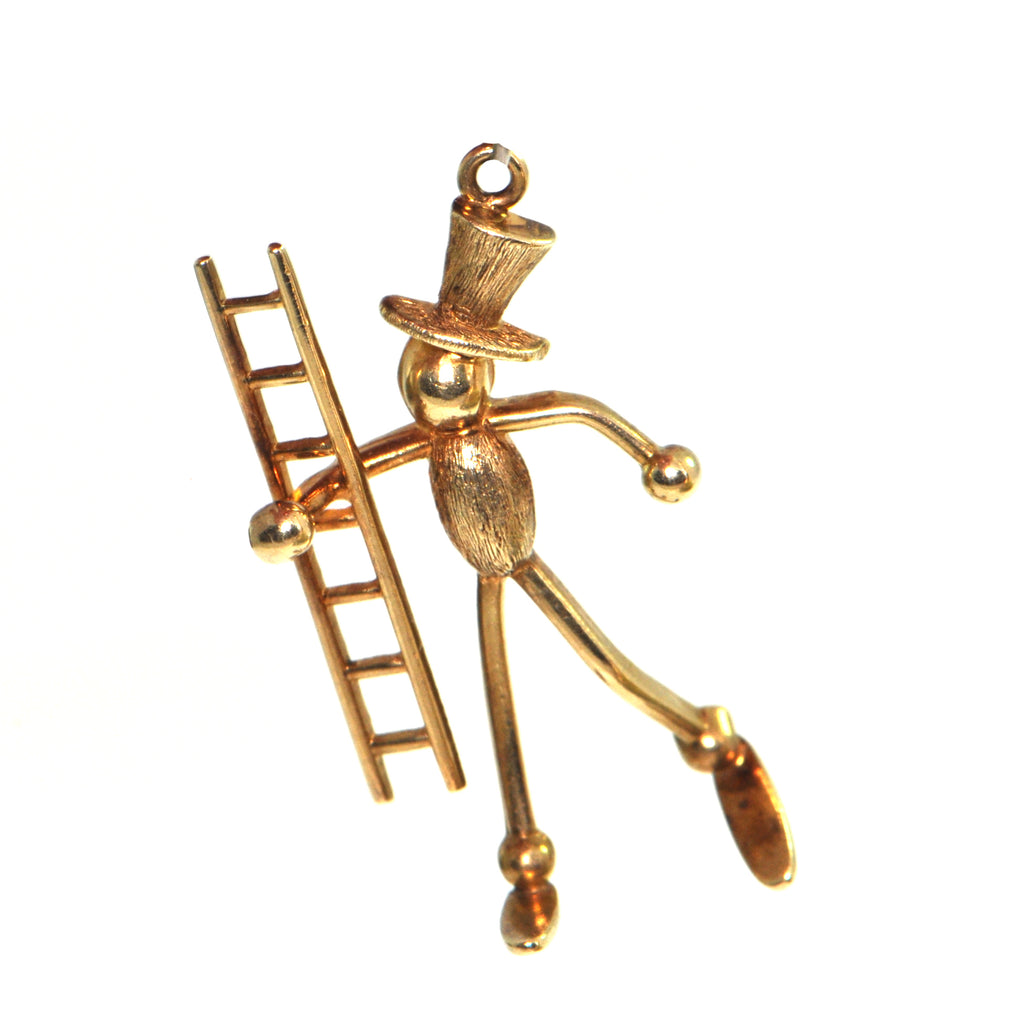 Vintage 14K Yellow Gold Stick Figure with Ladder Charm + Montreal Estate Jewelers