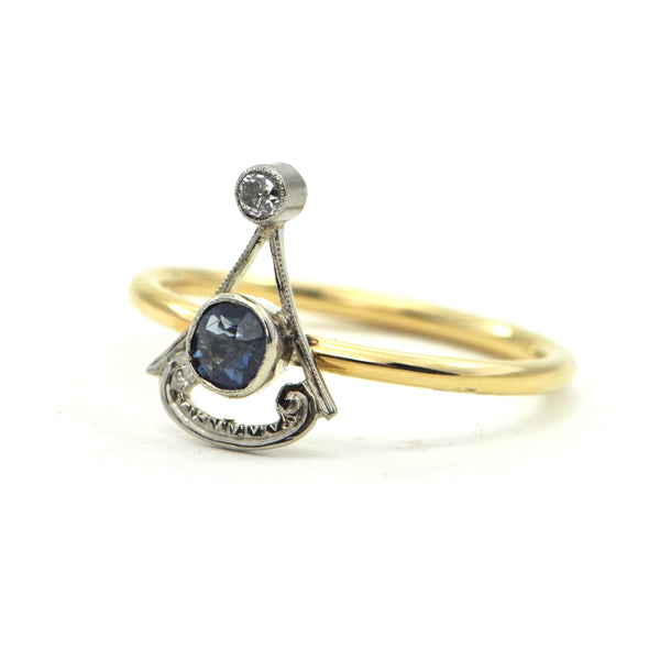 Art Deco 0.30 ct Sapphire and diamond ring Circa 1920 - montreal estate jewellers - daisy exclusive