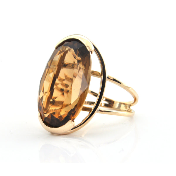 22.5CT Oval Smoky Citrine 14K Yellow Gold Ring + Montreal Estate Jewelers