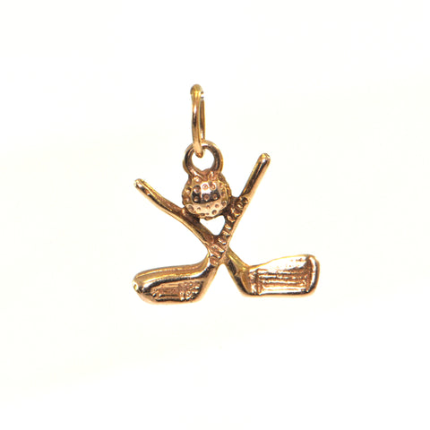 Vintage 14K Yellow Gold Golf Ball and Clubs Charm + Montreal Estate Jewelers