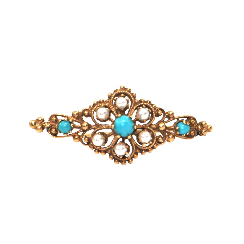Retro Turquoise & Seed Pearl Brooch in 14k Yellow Gold + Montreal Estate Jewelers