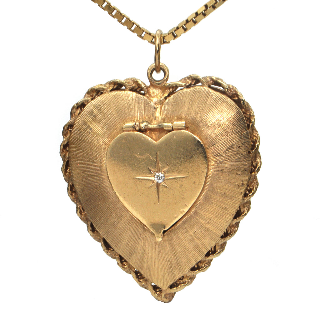 Vintage Diamond and 14K Yellow Gold Heart Locket + Montreal Estate Jewelers