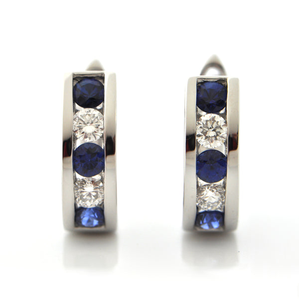 Vintage 18K White Gold Diamond and Sapphire Huggie Earrings + Montreal Estate Jewelers