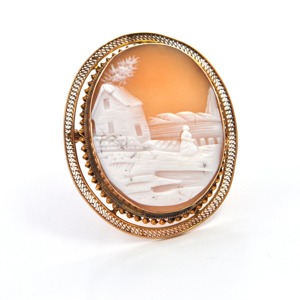 Vintage Scenic Shell Cameo Brooch/Pendant 10k Yellow Gold, Montreal Estate Jewellers