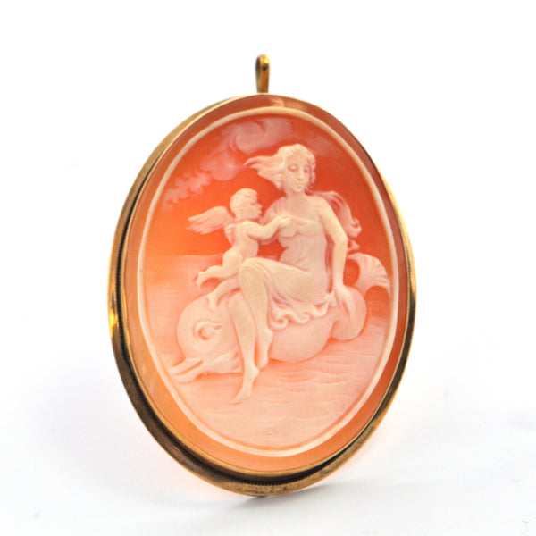Vintage Shell Cameo Brooch /Pendant of Lady, Cherub & Dolphin