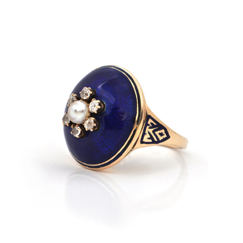 Antique 0.25CT Diamond and Pearl 14K Gold Ring with Enamel C. 1850 + Montreal Estate Jewelers