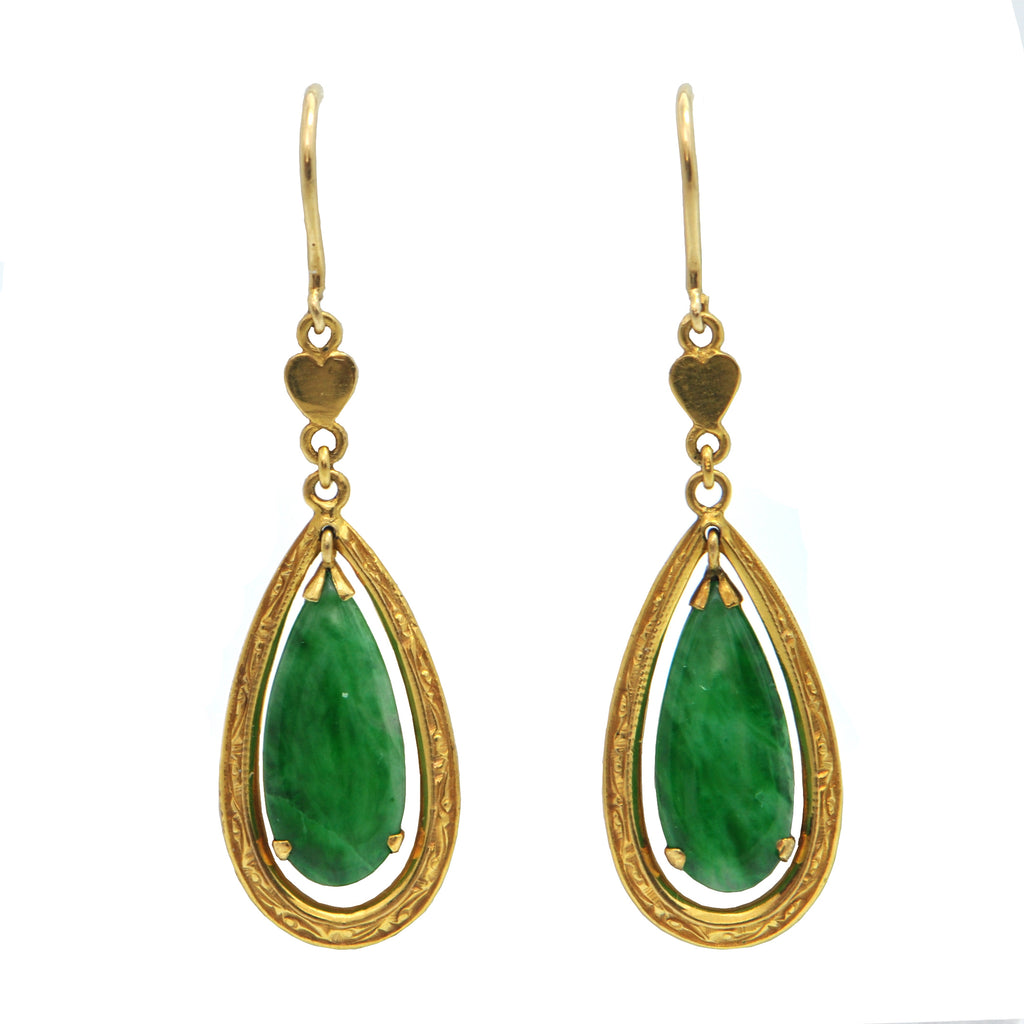 Vintage Jade 14k and 18k Yellow Gold Drop Earrings + Montreal Estate Jewelers