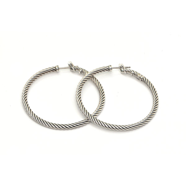 David Yurman Twisted Cable 925 Sterling Silver Hoops + Montreal Estate Jewelers