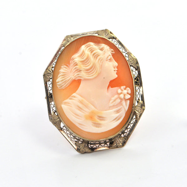 Vintage Shell Cameo Pendant/Brooch of Lady with Flowing Hair in 14k White Gold, montreal estate jewellers