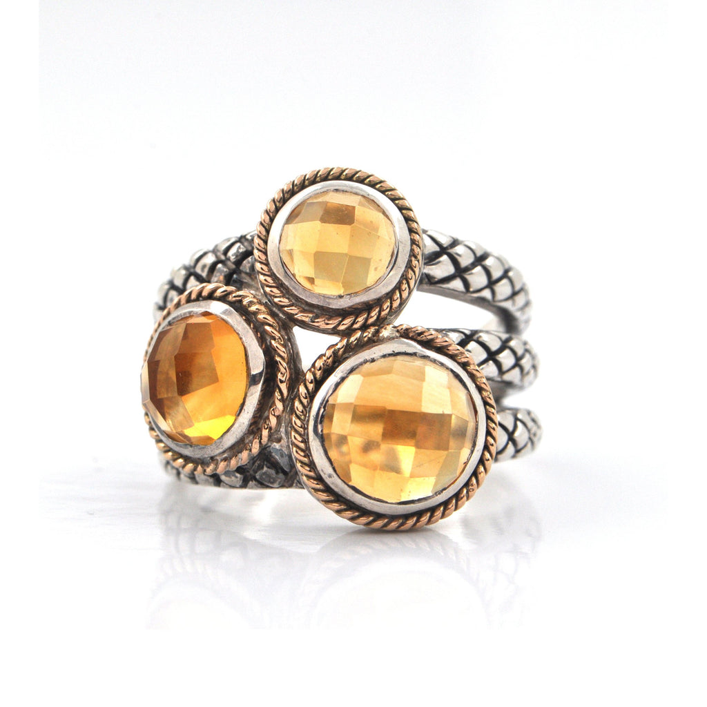Sterling Silver and 18K Rose Gold Three Stone Citrine Ring + Montreal Estate Jewelers