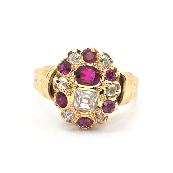 Antique 1.25CT Ruby and 0.86CT Diamond 14K Yellow Gold Ring + Montreal Estate Jewelers