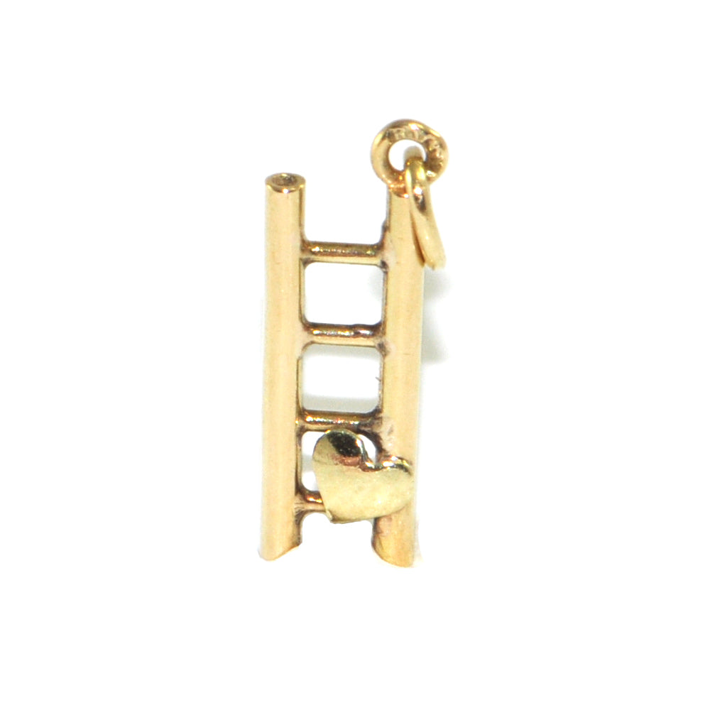 Vintage 14K Yellow Gold Ladder with Heart Charm + Montreal Estate Jewelers