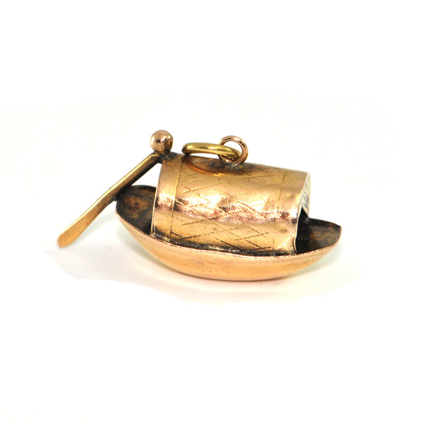Vintage 10K Yellow Gold Boat Charm + Montreal Estate Jewelers